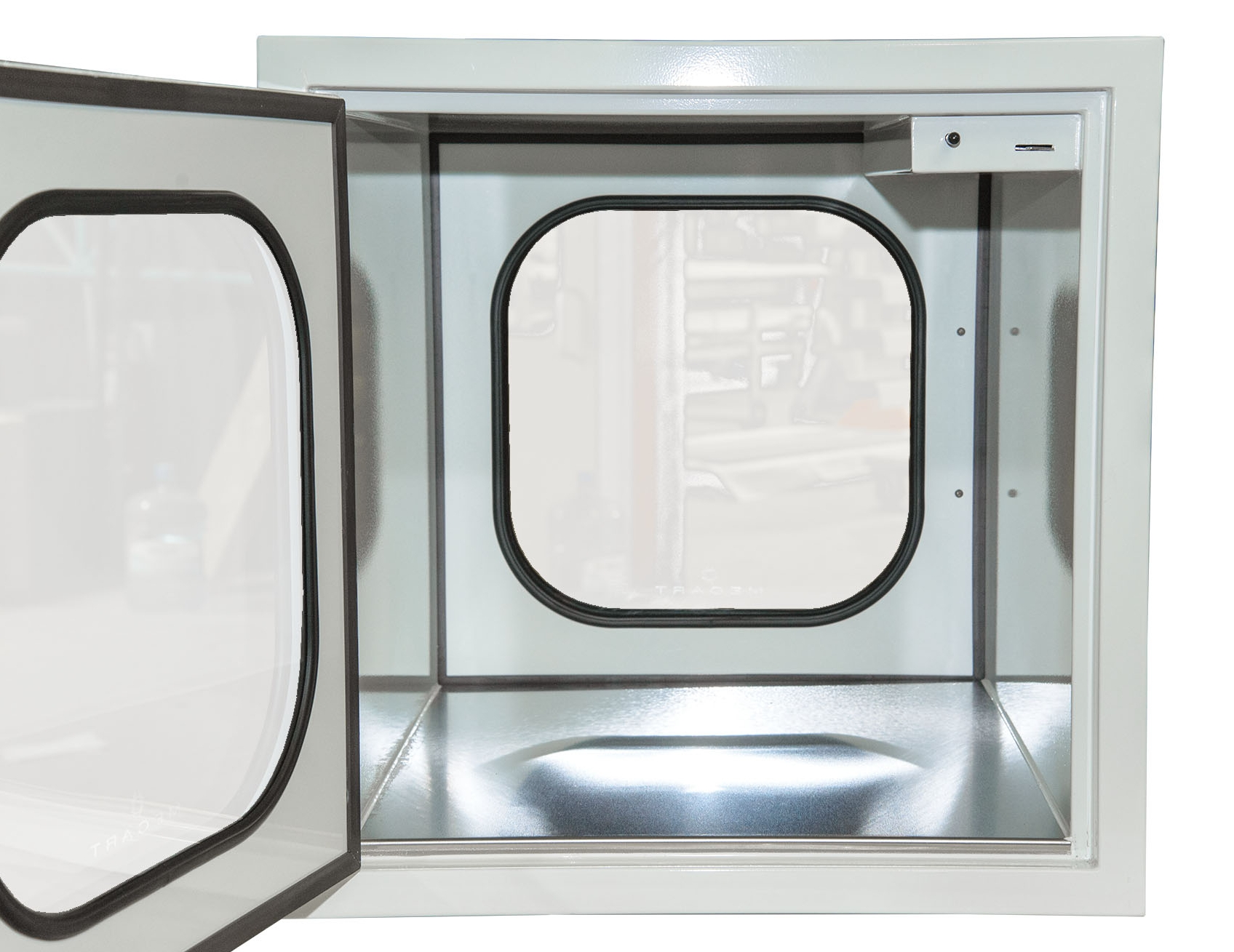 mecart pass-through for cleanroom stainless steel bottom inside inside view
