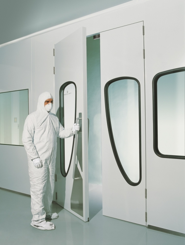 Interlocks prevent potential particle migration between two clean rooms which happens when two doors are accidentally opened at the same time. & MECART Cleanroom Doors | Including our Teardrop Shape Window