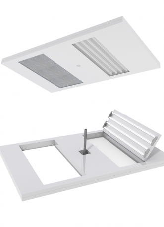 ceiling panel for modular cleanroom integrated utilities