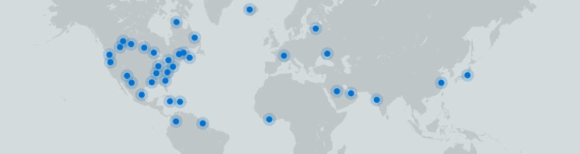 Worldmap showing where Mecart completed some of it projects.