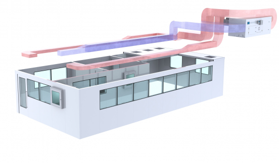 hvac system for modular cleanroom heating ventilation air conditionning