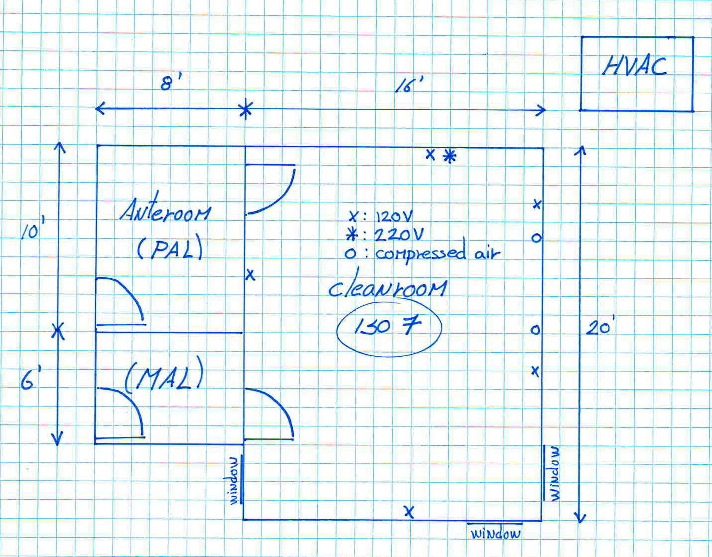 sketch layout anteroom hvac iso 7 cleanroom modular