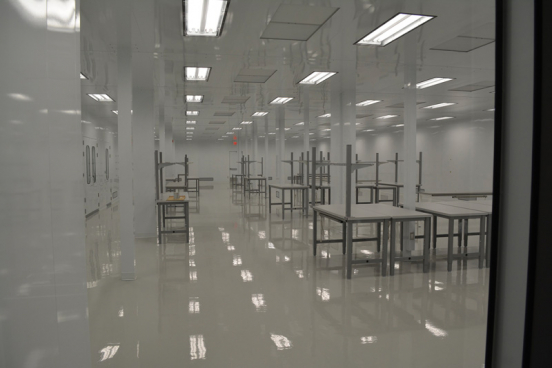 Tables inside a cleanroom