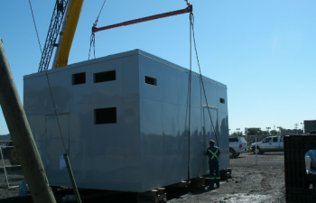 room assembly with a crane close-up