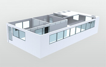 Basic 3D model of a modular cleanroom