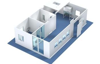 Basic 3D model of a modular cleanroom